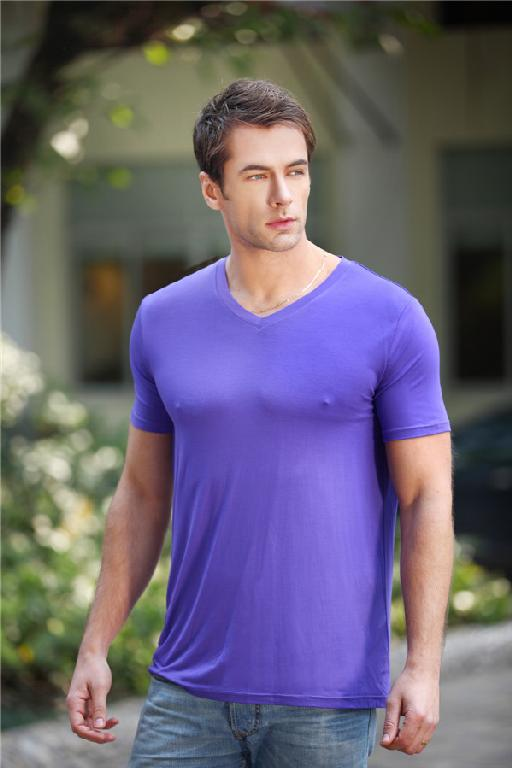 Bamboo fiber men 39 s v neck t shirt promotional products for Bamboo fiber t shirt