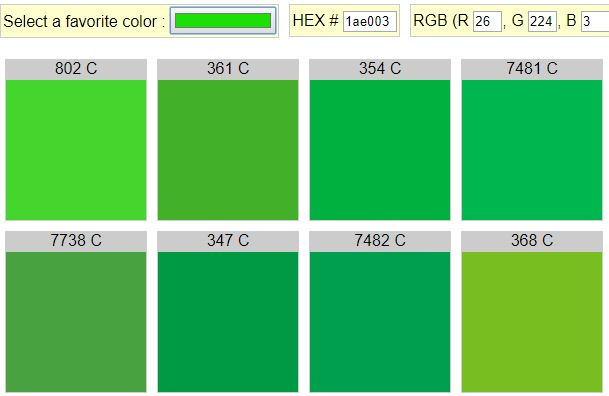 Search Available Pms Colors Matching Color Hex Cmyk